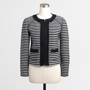 J. Crew Striped Tweed Cropped Jacket Blazer